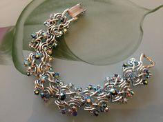 Stunning Jewelcraft Silvertone And Rhinestone Bracelet