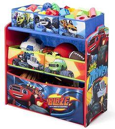 Mueble infantil organizador de juguetes Blaze para niños pequeños. Edad recomendada por el fabricante Delta Children - A partir de los 3 años. Material - Madera y tela. Persona ..