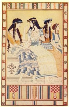 Ladies of the Minoan Court by John Duncan, 1917, from Myths of Crete and Pre-Hellenic Europe by Donald A. Mackenzie