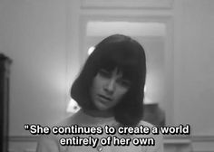 """she continues to create a world entirely of her own"" (Masculin Féminin, Jean-Luc Godard) The Words, Background Cool, Pale Tumblr, Citations Film, Jean Luc Godard, Movie Lines, Poetic Justice, Film Quotes, Film Stills"