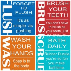 Second Chance to Dream: 4 Kids Bathroom Rules Printables