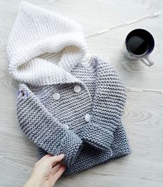 """детский кардиган спицами """"Cotton or wool howdy for babies, gradient grey and white"""", """"Knitted coat for kids"""", """"This post was discovered by Fat"""" Knitting For Kids, Baby Knitting Patterns, Crochet For Kids, Baby Patterns, Crochet Baby, Crochet Girls, Dress Patterns, Crochet Patterns, Cardigan Bebe"""