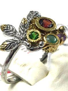 Unique FineArt Jewelry Amethyst Garnet Emerald 925 Sterling Silver Ring Sz 8