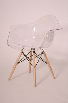 Carl Molded Eames Inspired Ghost Maple Dowel Legs Arm Chair, Clear - Harrington Galleries