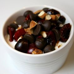 Get the recipe: fruit, nut, and yogurt bowl Protein: 17 grams                  Image Source: POPSUGAR Photo...