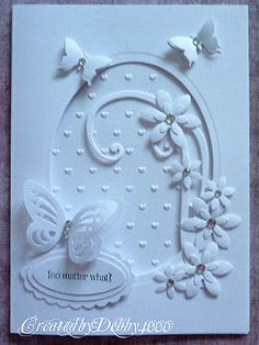 handmade greeting card from A Scrapjourney: LIM Cut it Out . die cute and embossing folder . negative space oval with embellishments . Butterfly Cards, Flower Cards, White Butterfly, Butterfly Flowers, White Flowers, Wedding Anniversary Cards, Wedding Cards, Happy Anniversary, Greeting Cards Handmade