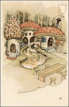 Anton Pieck... reminds of the mushroom houses I would draw as a child