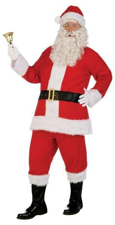 Christmas Santa Claus Costume with Beard Adult Men Deluxe Plush Santa Suit Outfit Set with Beard Flannel Complete One Size Wine Red 19 Pcs