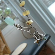 Silver Necklace Flower Blue Yellow wire wrapped gemstone by artdi