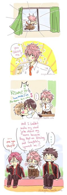 Kissumi ... part 2 ... Drawn by racyue ... Free! - Iwatobi Swim Club, haruka nanase, haru nanase, haru, free!, iwatobi, makoto tachibana, makoto, tachibana, nanase, rin matsuoka, matsuoka, rin, sosuke, sosuke yamazaki, yamazaki, sosouke, sosouke yamazaki, kisumi shigino, shigino, kisumi