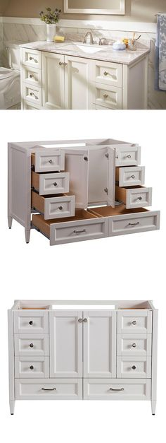 Look at all the storage this bathroom vanity provides. The Claxby features six working drawers and two large bottom drawers that provide ample storage for all of your bath essentials. It's finished in a beautiful cream color and accented with chrome cabin Diy Bathroom Vanity, Bathroom Renos, Bathroom Renovations, Bathroom Storage, Small Bathroom, Bathroom Cabinets, Bathroom Ideas, Kitchen Cabinets, Cream Bathroom