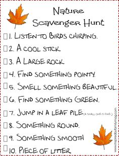 nature scavenger hunt printable fun fall game for kids Earth Day Activities, Nature Activities, Autumn Activities, Craft Activities For Kids, Outdoor Activities, Family Activities, Kid Crafts, Toddler Activities, Craft Ideas