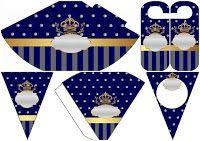 Golden Crown in Blue and Diamonds: Wedding Free Party Printables. Party Printables, Free Printables, Crown Party, Printable Box, Golden Crown, Boy Christening, Wedding Crafts, Free Wedding, Chibi
