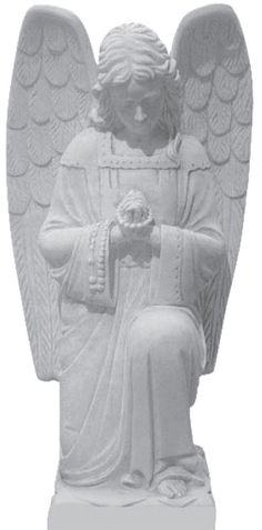This is a beautifully carved Kneeling Angel Statue. Comes in five sizes: 2′, 3′, 4′, 5′, and 6′. Standard material is Gray Granite.