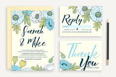 Great Backgrounds for Wedding invitation set