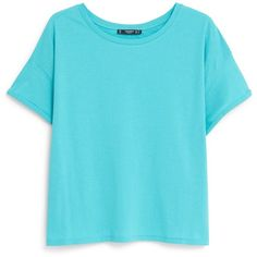 Cotton T-Shirt ($4.86) ❤ liked on Polyvore featuring tops, t-shirts, blue, shirts, tops/outerwear, mango shirt, blue cotton shirt, cotton short sleeve shirts, shirts & tops and short sleeve tops