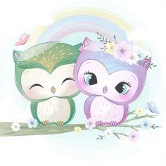 Cute little little owl Vector Premium Cute Animal Drawings, Colorful Drawings, Cute Drawings, Owl Vector, Kids Vector, Vector File, Owl Cartoon, Cute Cartoon, Cute Images