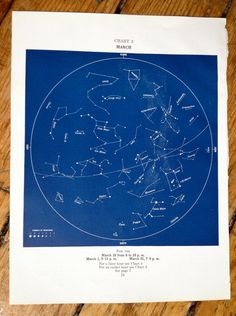 this is an original antique lithograph printed in the USA in 1943    it hails from a series of detailed monthly starry sky celestial maps  the