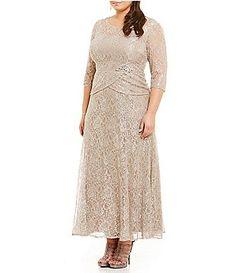 6671d900d970 Emma Street Plus Metallic Lace Mock 2-Piece Gown Plus Dresses, Casual  Dresses,