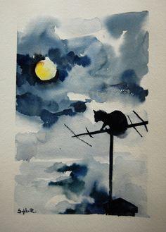 Original Watercolor Painting of Cat Night Sky Moon by SophieRR, $78.00