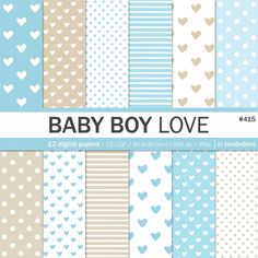 Heart digital paper pack baby boy love with blue by eltendedero