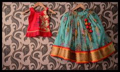 Watch your kids flaunting these unique designer floral lehangas and have fun ! Stay amazed with team Teja Kids Frocks, Frocks For Girls, Dresses Kids Girl, Kids Outfits, Baby Dresses, Kids Indian Wear, Kids Ethnic Wear, Little Girl Fashion, Kids Fashion