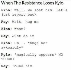 No one is allow to hug rey , only kylo.