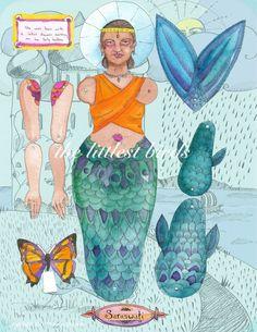 illustrated articulated Saraswati mermaid paper doll by MrsJbird, $12.00