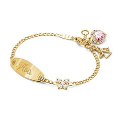 Pavé Butterfly, Baby/Children's Engraved ID Bracelet - 14K Gold