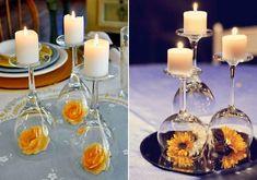 A fejre fordított borospohár remek gyertyatartó lehet, az öblös részébe pedig azt teszel dekorációnak, amit csak szeretnél.