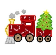 Xmas Train Applique - 3 Sizes! | What's New | Machine Embroidery Designs | SWAKembroidery.com Dollar Applique