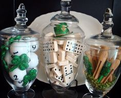 so clever, St patrick's themed apothecary jars