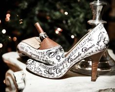 Custom Hand-Painted Shoes by Figgie Shoes | Calligraphy by Jennifer