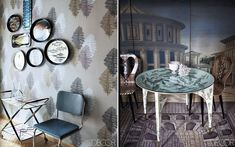 Flawless Fornasetti | Love the background prints matched with tables with patterns