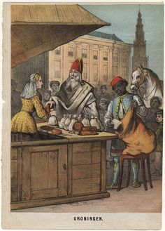 Sinterklaas en Zwarte Piet doen inkopen. Lithografie uit een onbekend boek…