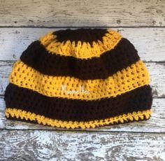 Handmade Beanie Crochet Black and Yellow Hat