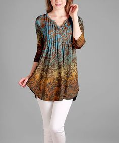 Blue & Orange Abstract Notch Neck Tunic - Plus Too