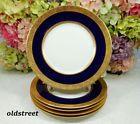 5 Gorgeous Limoges France Porcelain Dinner Plates  Cobalt Blue Gold Encrusted