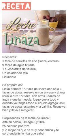 Leche de linaza Healthy Juices, Healthy Smoothies, Healthy Drinks, Healthy Snacks, Healthy Eating, Raw Food Recipes, Veggie Recipes, Vegetarian Recipes, Healthy Recipes