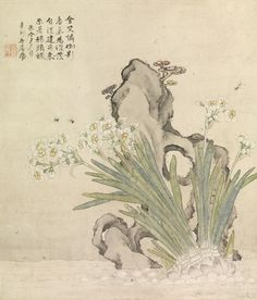 Narcissus, Rock, Bees and Linghzhi Ju Lian (Chinese, 1828-1904)