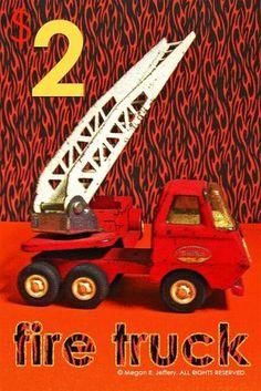 Toy firetruck. From Megan Jeffery's blog, Beetlegrass.