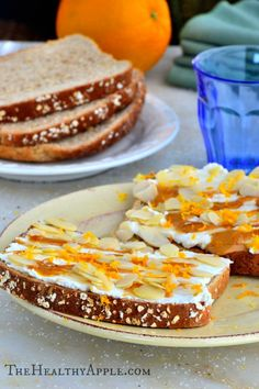 Ingredients 2 slices gluten-free bread 2½ Tbsp. ricotta cheese or dairy-free yogurt 1 teaspoon almond butter, melted 1 teaspoon honey 1½ tablespoons sliced almonds ½ teaspoon orange zest Instructions