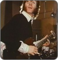 "#JohnLennon using the 1964 #GIbson SG during the ""Hey Bulldog"" sessions."