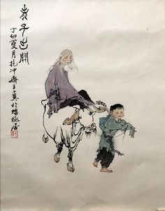 Motive: a child/boy in traditional garb has trained a walking stick in one hand, in the other he holds a leash. He leads a white ox 7buffalo. On this sits an old wise man with long white hair, eyebrows and beard. Colours: black, white, blue, purple and beige. In addition, black lettering and stamp Chinese Brush, Chinese Art, Long White Hair, Man Child, Chinese Zodiac, Chinese Painting, Old Men, Ox, Kids Boys