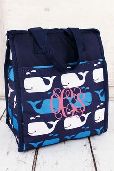 WHALES OF BLUE INSULATED LUNCH TOTE #CC18-31-W-B
