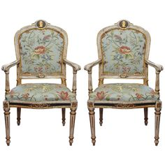 Pair of Italian Painted and Parcel Gilt Louis XVI Armchairs
