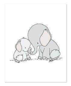 Elephant Mama & Baby Print #zulily #zulilyfinds