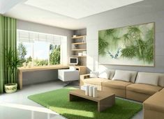 Trendy home design drawing house plans ideas Living Room Green, Rugs In Living Room, Living Room Designs, Painted Bedroom Furniture, Green Furniture, Trendy Home, Home Interior Design, House Design, Decoration