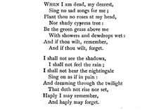 """Christina Rossetti...mmmm. :) I like her poem """"Remember"""" better than this one, but this is still really good. I need to read more of her!"""