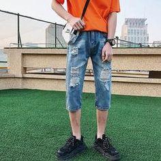 952061c1276c Mens Summer Ripped Holes Slim Fit Knee Length Short Jeans   Black ...